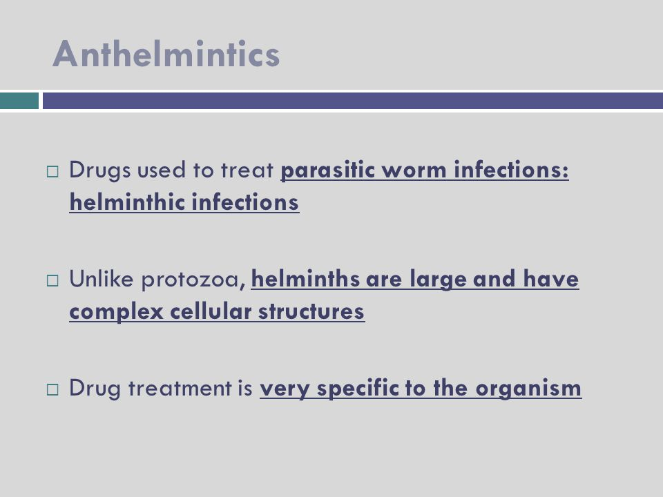 anthelmintic drugs uses