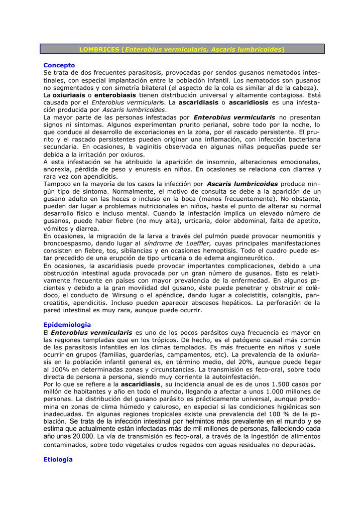 oxiuros tratamiento piperazina dermatite yves rocher