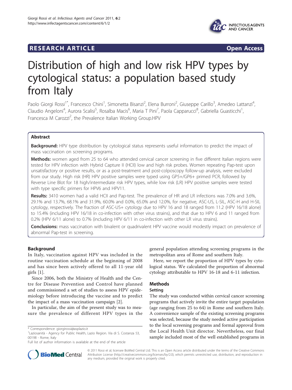 hpv in italy