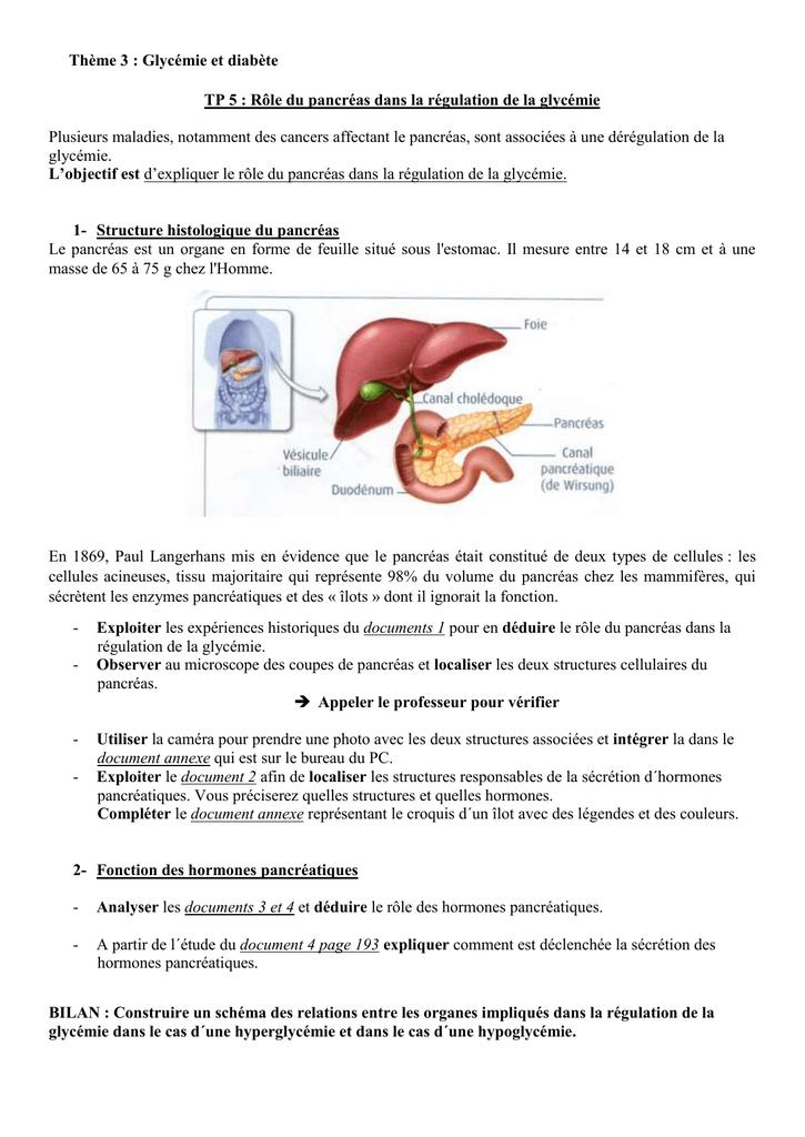 cancer pancreas glycemie