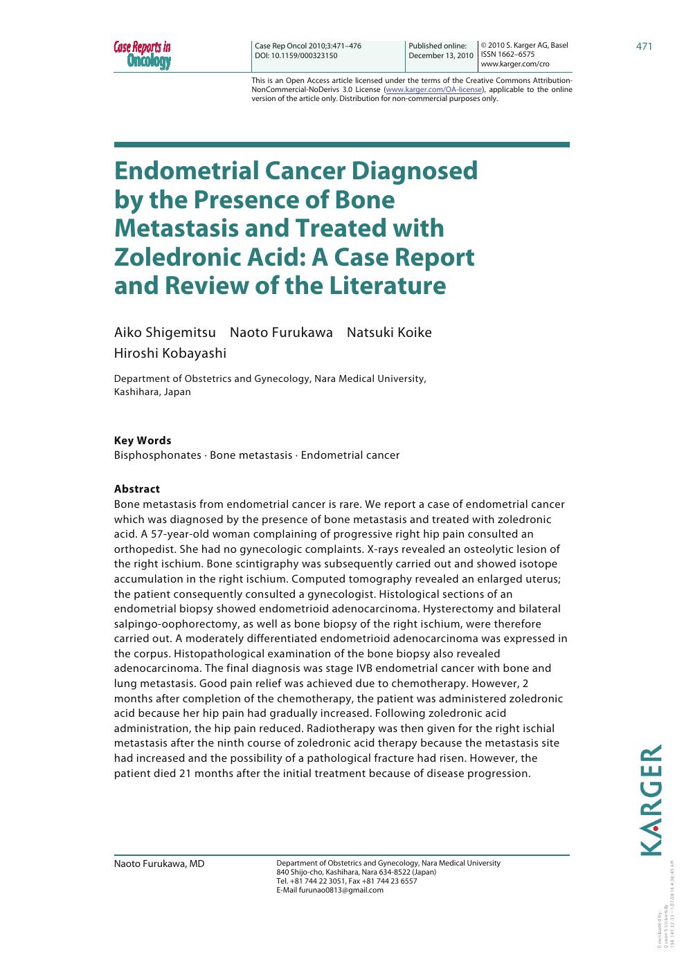 endometrial cancer metastasis to bone papillomavirus p16