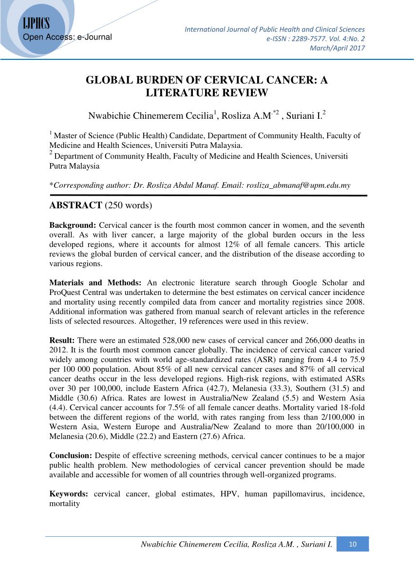 cervical cancer literature review