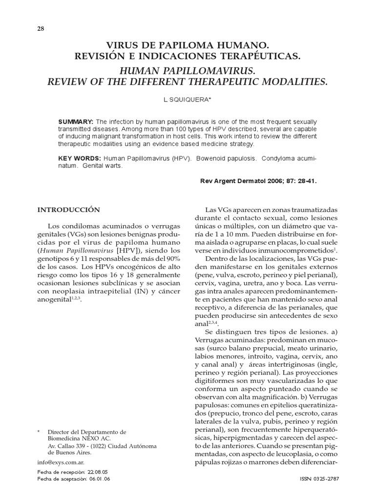 virus papiloma humano revision