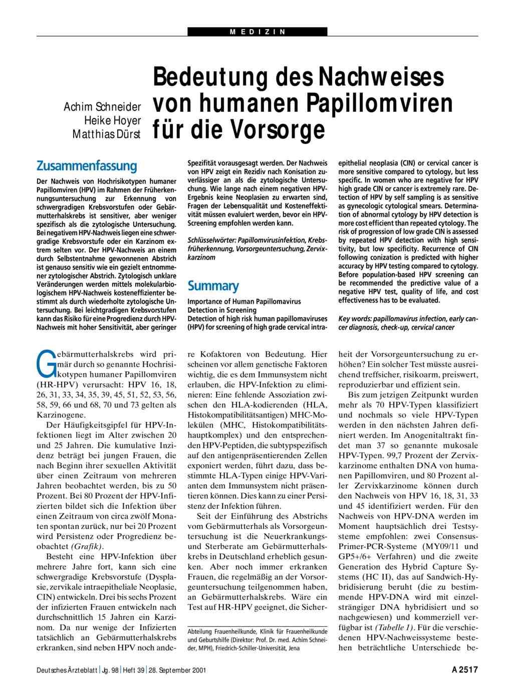 papillomavirus nachweis mann