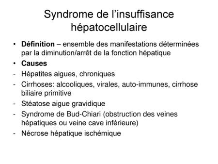anemie et insuffisance hepatique