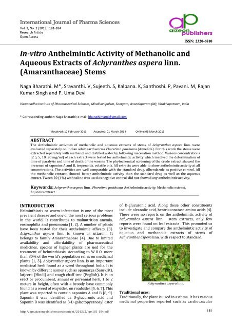 anthelmintic activity of plant extracts cancerul san doare
