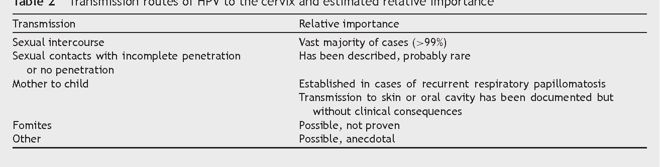 cancer papillomavirus transmission