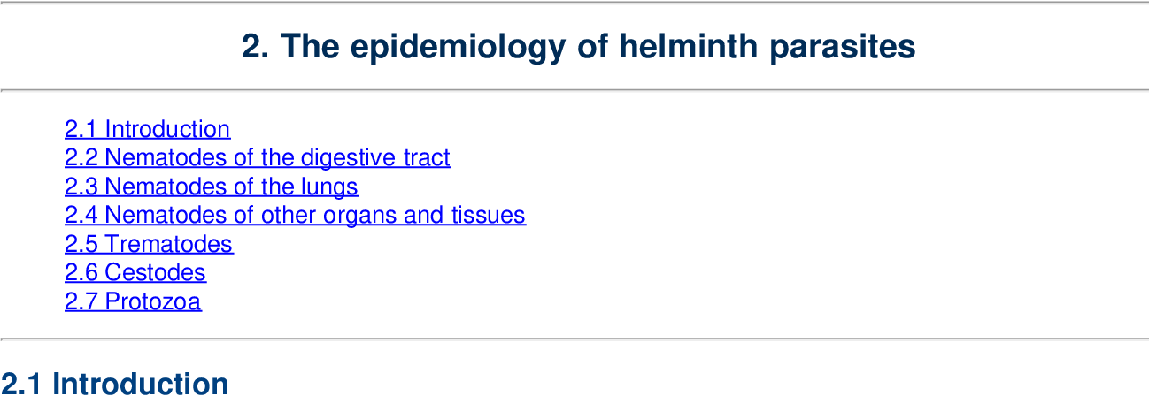 epidemiology of helminth diseases