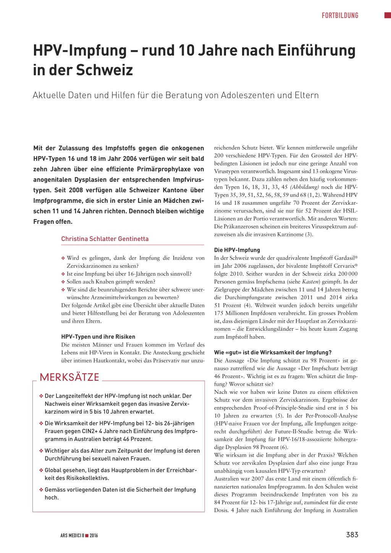 hpv impfung schweiz