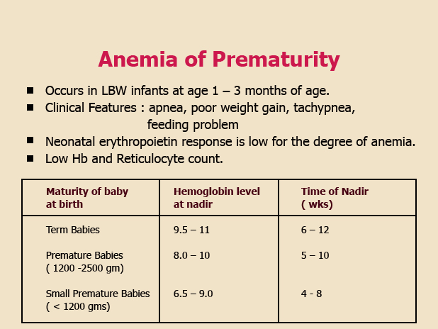 anemia of prematurity cancer genetic lesions