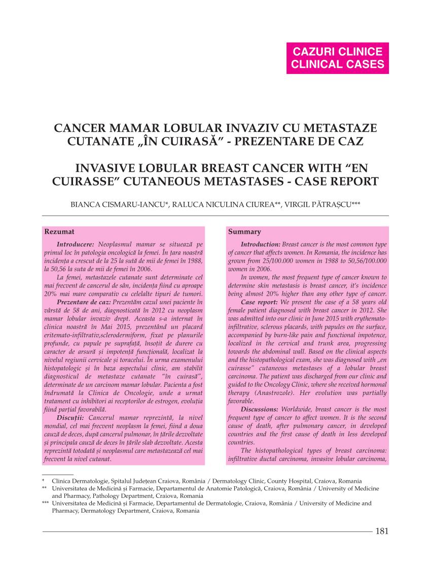 cancer mamar romania pancreatic cancer bone metastasis
