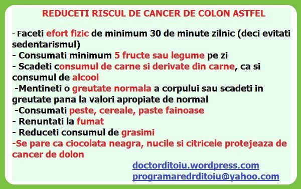 cancer la colon regim alimentar