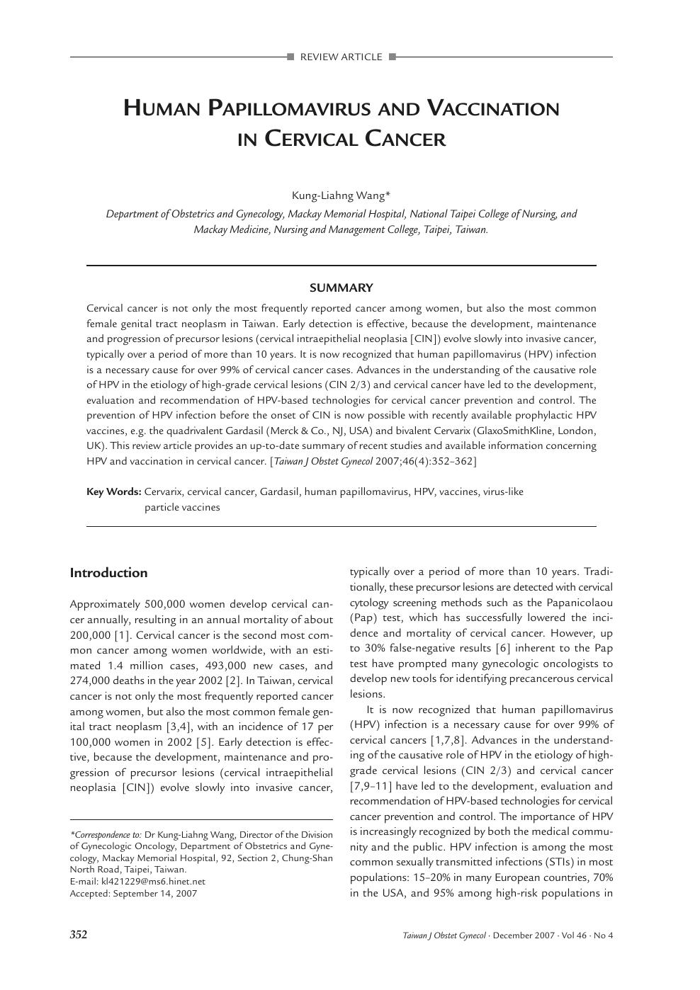 human papillomavirus article