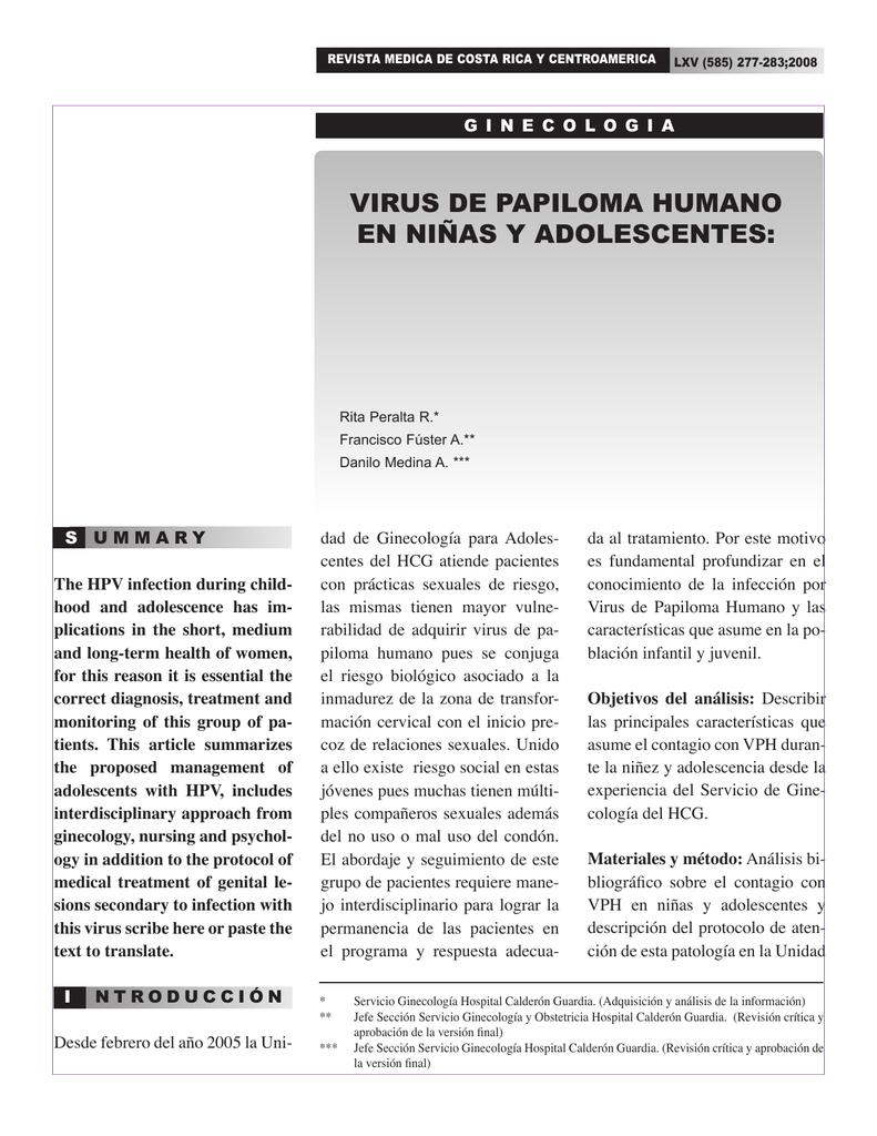 virus del papiloma humano en adolescentes sintomas