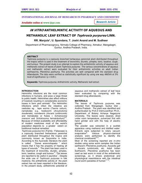 anthelmintic activity of plant extracts