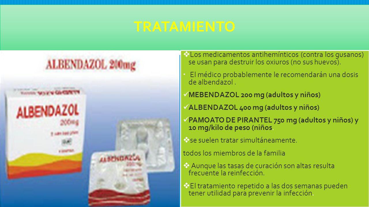 oxiuros tratamiento mebendazol pediatria
