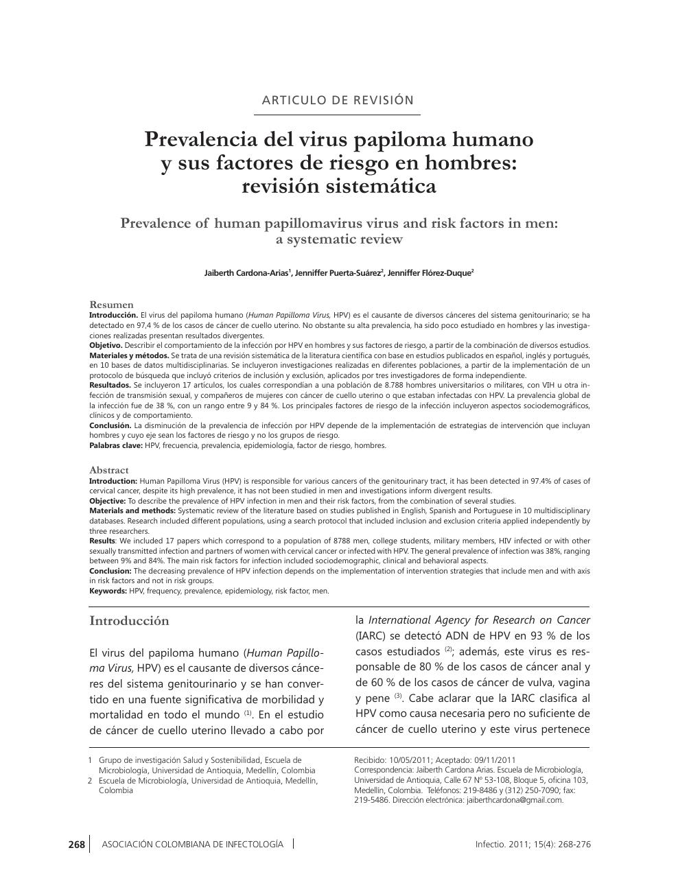 virus del papiloma humano articulos cancer que enfermedad es